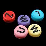 Beads akrilik alfabet, Monedhë, mrekulli, ngjyra të përziera, 4x7mm, : 0.5mm, 3600-3700PC/Qese,  Qese