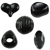 Solid Black Acrylic Beads