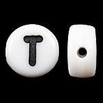 Beads akrilik alfabet, Monedhë, mrekulli, e bardhë, 4x7mm, : 0.5mm, 3600-3700PC/Qese,  Qese