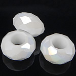 European Beads Crystal, Kristal, Rondelle, pa karrem, White alabaster, 8-9x14-15mm, : 6mm, 100PC/Qese,  Qese