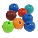Beads Solid Color akrilik, Round, ngjyra të forta, ngjyra të përziera, 8mm, : 2mm, 1660PC/Qese,  Qese