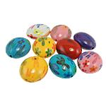Beads Printime akrilik, Oval, ngjyra të përziera, 24x29x15mm, : 2.5mm, 80PC/Qese,  Qese