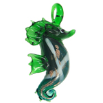 Animal Lampwork Pendant, seahorse, more colors for choice, 60x30mm, Sold by PC