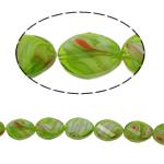 Millefiori Perlen, Kristall, oval, Twist, grün, 13x18x8mm, Bohrung:ca. 2mm, 20PCs/Strang, verkauft per 15.7 ZollInch Strang