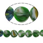 Millefiori Perlen, Kristall, Twist, grün, 14x7mm, Bohrung:ca. 2mm, 25PCs/Strang, verkauft per 13.7 ZollInch Strang
