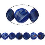 Millefiori Perlen, Kristall, Twist, blau, 14x7mm, Bohrung:ca. 2mm, 25PCs/Strang, verkauft per 13.7 ZollInch Strang