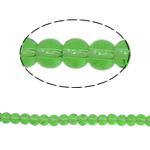 Runde Kristallperlen, Kristall, grasgrün, 4mm, Bohrung:ca. 1mm, Länge:ca. 13 ZollInch, 10SträngeStrang/Tasche, verkauft von Tasche
