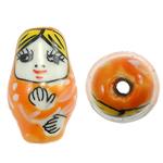 Beads bizhuteri Porcelani, Vajzë, shtypje, portokall, 26x15mm, : 3mm, 50PC/Qese,  Qese