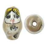 Beads bizhuteri Porcelani, Vajzë, shtypje, bojë kafe, 13x22mm, : 3mm, 50PC/Qese,  Qese