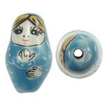 Beads bizhuteri Porcelani, Vajzë, shtypje, Skyblue, 16x27mm, : 2.5mm, 50PC/Qese,  Qese