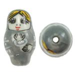 Beads bizhuteri Porcelani, Vajzë, shtypje, gri, 16x27mm, : 2.5mm, 50PC/Qese,  Qese