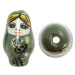 Beads bizhuteri Porcelani, Vajzë, shtypje, e gjelbër, 16x27mm, : 2.5mm, 50PC/Qese,  Qese