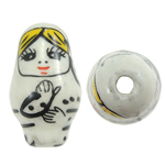 Beads bizhuteri Porcelani, Vajzë, shtypje, e bardhë, 16x27mm, : 2.5mm, 50PC/Qese,  Qese