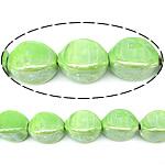 Beads pearlized Porcelani, Oval, i praruar, e gjelbër, 20x14mm, : 2.5mm, 100PC/Qese,  Qese