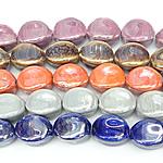 Beads pearlized Porcelani, Oval, i praruar, ngjyra të përziera, 20x14mm, : 2.5mm, 100PC/Qese,  Qese