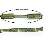 Beads pearlized Porcelani, Drejtkëndësh, i praruar, e gjelbër, 15x35x6.50mm, : 2.5mm, 100PC/Qese,  Qese
