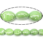 Beads pearlized Porcelani, Oval, i praruar, e gjelbër, 17-18x19-20x12-13mm, : 2.5mm, 100PC/Qese,  Qese