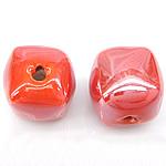 Beads pearlized Porcelani, Kub, i praruar, portokall, 13-14x13-14mm, : 2.5mm, 100PC/Qese,  Qese
