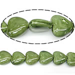 Beads pearlized Porcelani, Zemër, i praruar, e gjelbër, 27-28x25-26x12-13mm, : 2mm, 100PC/Qese,  Qese