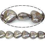 Beads pearlized Porcelani, Zemër, i praruar, bojë kafe, 27-28x25-26x12-13mm, : 2mm, 100PC/Qese,  Qese