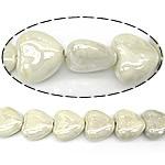 Beads pearlized Porcelani, Zemër, i praruar, e bardhë, 27-28x25-26x12-13mm, : 2mm, 100PC/Qese,  Qese