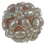 Cluster Ball Beads kulturuar Pearl, Pearl kulturuar ujërave të ëmbla, Round, 17mm, 5PC/Qese,  Qese