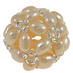 Ball Cluster Zuchtperlen, Natürliche kultivierte Süßwasserperlen, mit Glas-Rocailles, rund, Rosa, 17mm, verkauft von PC
