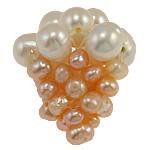 Cluster Ball Beads kulturuar Pearl, Pearl kulturuar ujërave të ëmbla, Round, 18x20mm, 5PC/Qese,  Qese