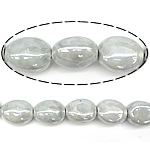 Beads pearlized Porcelani, Oval, i praruar, gri, 17-18x19-20x12-13mm, : 2.5mm, 100PC/Qese,  Qese