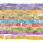 Beads Natyrore Colored Shell, Predhë, Drejtkëndësh, asnjë, ngjyra të përziera, 15x19x3mm, : 1.5mm, :15.5Inç, 10Fillesat/Qese,  Qese