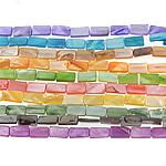 Beads Natyrore Colored Shell, Predhë, Drejtkëndësh, asnjë, ngjyra të përziera, 8x14x3mm, : 1.5mm, :15.5Inç, 10Fillesat/Qese,  Qese