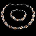 Natyrore kulturuar Pearl ujërave të ëmbla bizhuteri Sets, Pearl kulturuar ujërave të ëmbla, with Kristal & Seed Glass Beads, Oriz, natyror, rozë, 3-4mm, :17Inç,  7.5Inç,  I vendosur