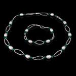 Natyrore kulturuar Pearl ujërave të ëmbla bizhuteri Sets, Pearl kulturuar ujërave të ëmbla, with Kristal, Oriz, natyror, e bardhë, 7-8mm, :17Inç,  7.5Inç,  I vendosur