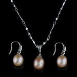 Natyrore kulturuar Pearl ujërave të ëmbla bizhuteri Sets, Pearl kulturuar ujërave të ëmbla, with 925 Sterling Silver, Oriz, Platinum kromuar, rozë, 9-10mm, :17Inç,  I vendosur