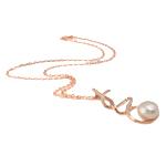 Ujërave të ëmbla Pearl gjerdan Zinxhiri tunxh, Pearl kulturuar ujërave të ëmbla, with Diamant i rremë & Tunxh, Round Flat, natyror, rozë, 22x47mm, 13mm, :17Inç,  17Inç,