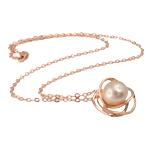 Ujërave të ëmbla Pearl gjerdan Zinxhiri tunxh, Pearl kulturuar ujërave të ëmbla, with Tunxh, Round, natyror, rozë, 21x21mm, 12-13mm, :17Inç,  17Inç,