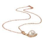Ujërave të ëmbla Pearl gjerdan Zinxhiri tunxh, Pearl kulturuar ujërave të ëmbla, with Diamant i rremë & Tunxh, Round, natyror, e bardhë, 22x35mm, 13mm, :17Inç,  17Inç,