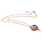 Ujërave të ëmbla Pearl gjerdan Zinxhiri tunxh, Pearl kulturuar ujërave të ëmbla, with Diamant i rremë & Tunxh, Round, natyror, vjollcë, 17x31mm, 12-13mm, :17Inç,  17Inç,