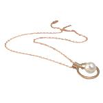 Ujërave të ëmbla Pearl gjerdan Zinxhiri tunxh, Pearl kulturuar ujërave të ëmbla, with Diamant i rremë & Tunxh, Lot, natyror, e bardhë, 23x28mm, 11mm, :17Inç,  17Inç,