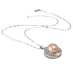 925 Sterling Silver gjerdan perlash, Pearl kulturuar ujërave të ëmbla, rozë, 22x30mm, 13-14mm, :17Inç,  17Inç,