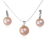 Natyrore kulturuar Pearl ujërave të ëmbla bizhuteri Sets, Pearl kulturuar ujërave të ëmbla, with Tunxh, Round, natyror, rozë, 10mm, 25x9mm, : 4x5mm,  I vendosur