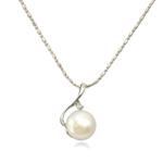 Ujërave të ëmbla Pearl gjerdan Zinxhiri tunxh, Pearl kulturuar ujërave të ëmbla, with Tunxh, Round, natyror, e bardhë, 16x24mm, 12-13mm, :17Inç,  17Inç,