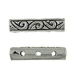 Zink Alloy Spacer Bar, Alloy zink, Drejtkëndësh, Ngjyra antike argjendi praruar, 3-fije floku, asnjë, , nikel çojë \x26amp; kadmium falas, 17x4x4mm, : 0.5mm, 900PC/KG,  KG