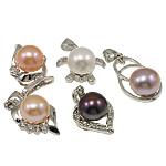Pendants Pearl ujërave të ëmbla, Pearl kulturuar ujërave të ëmbla, with Tunxh, Round, natyror, ngjyra të përziera, 10-11mm, : 3-5mm, 20PC/Qese,  Qese