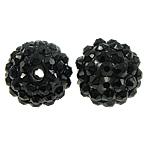 Beads diamant i rremë Rrëshirë, Rrëshirë diamant i rremë, Round, asnjë, me diamant i rremë, e zezë, 14x16mm, : 2mm, 100PC/Qese,  Qese
