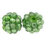 Beads diamant i rremë Rrëshirë, Rrëshirë diamant i rremë, Round, asnjë, me diamant i rremë, e gjelbër, 10x12mm, : 1mm, 100PC/Qese,  Qese