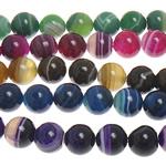 Natürliche Streifen Achat Perlen, rund, verschiedene Größen vorhanden, gemischte Farben, Bohrung:ca. 1-1.2mm, Länge:ca. 15 ZollInch, verkauft von Menge