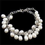 Kulturuar ujërave të ëmbla Pearl byzylyk, Pearl kulturuar ujërave të ëmbla, e bardhë, 7x11.50mm, :7.5Inç, 10Fillesat/Qese,  Qese