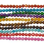 Beads Natyrore Colored Shell, Predhë, Round, asnjë, ngjyra të përziera, 6mm, : 1mm, :12Inç, 10Fillesat/Qese,  Qese