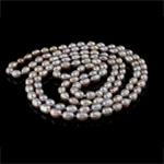 Natyrore ujërave të ëmbla Pearl gjerdan, Pearl kulturuar ujërave të ëmbla, vjollcë, AA, 7-8mm, :47Inç,  47Inç,